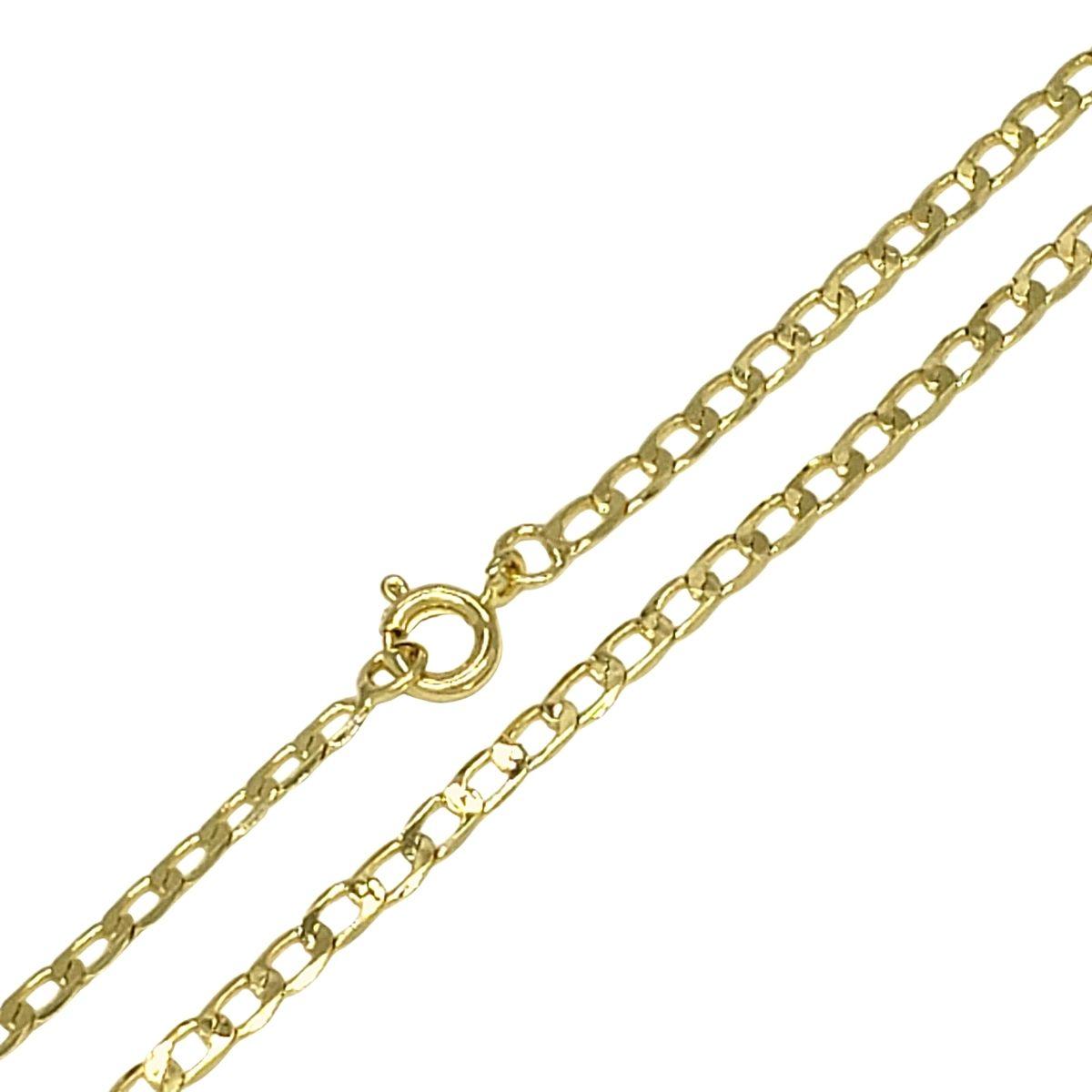 Corrente Cordão Masculino Elos Grumet 70cm Banho De Ouro 18k 4762