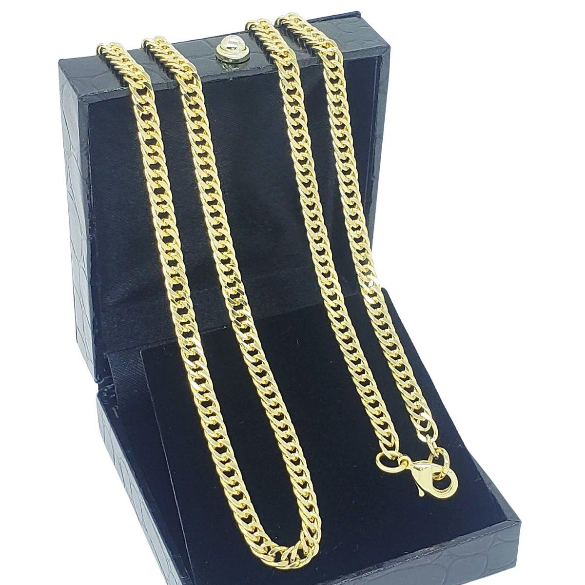 Corrente Grumet 70cm Banho De Ouro 18k 3858