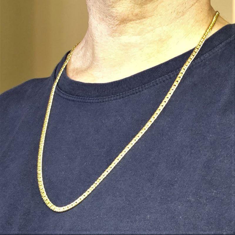 Corrente Cordão Masculina Grumet 4mm 70cm Banho De Ouro 18k 4719
