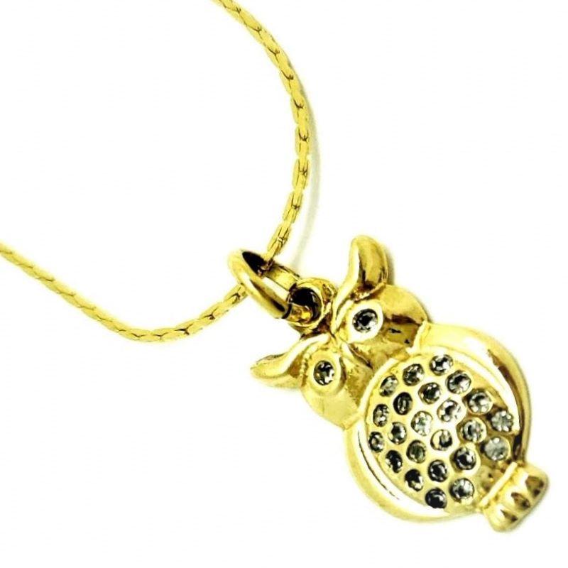 Gargantilha Coruja Cravejada De Zirconias Banho De Ouro 18k 605
