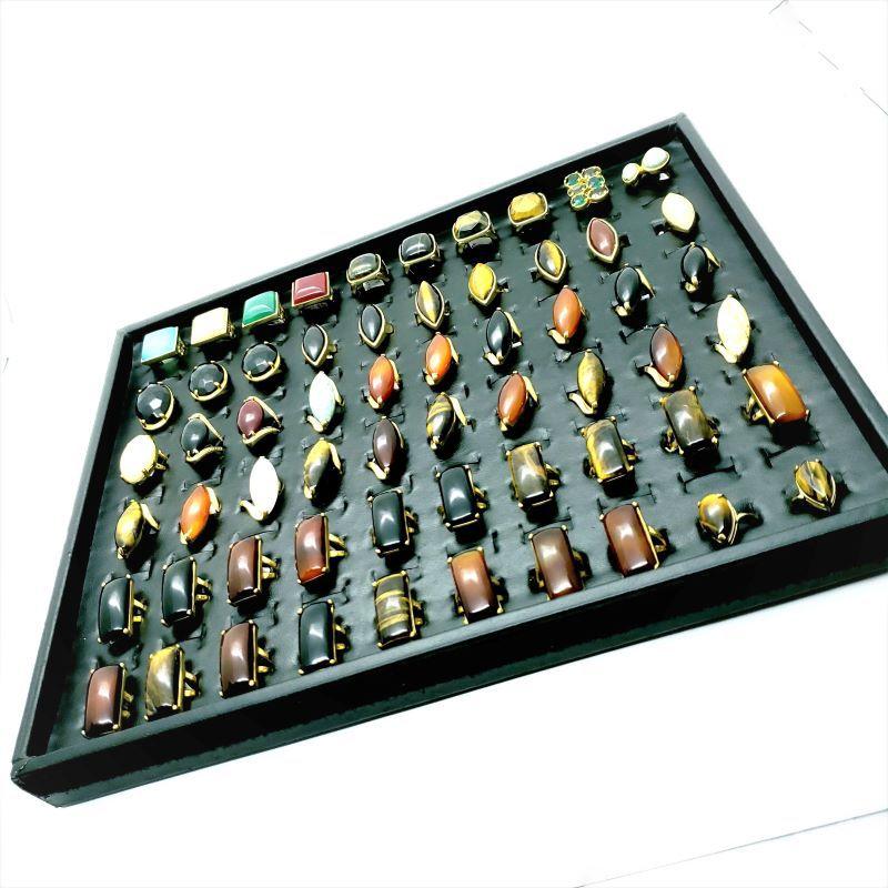 Kit 10 Anéis Femininos Pedra Natural Banhado Ouro Atacado Revenda 4708