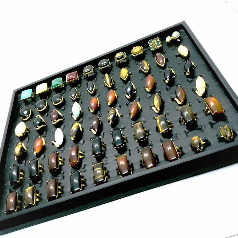 Kit 40 Anéis Femininos Pedra Natural Banhado Ouro Atacado Revenda 4705