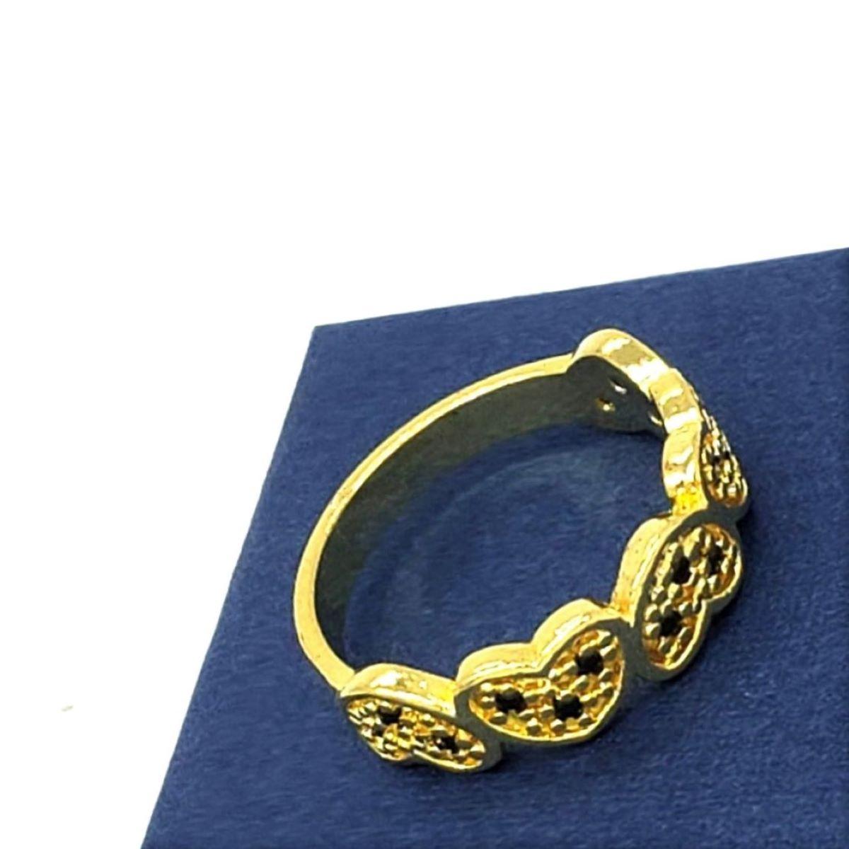 Meia Aliança Corações Cravejado Zirconias Negras Banho Ouro 18k 1873