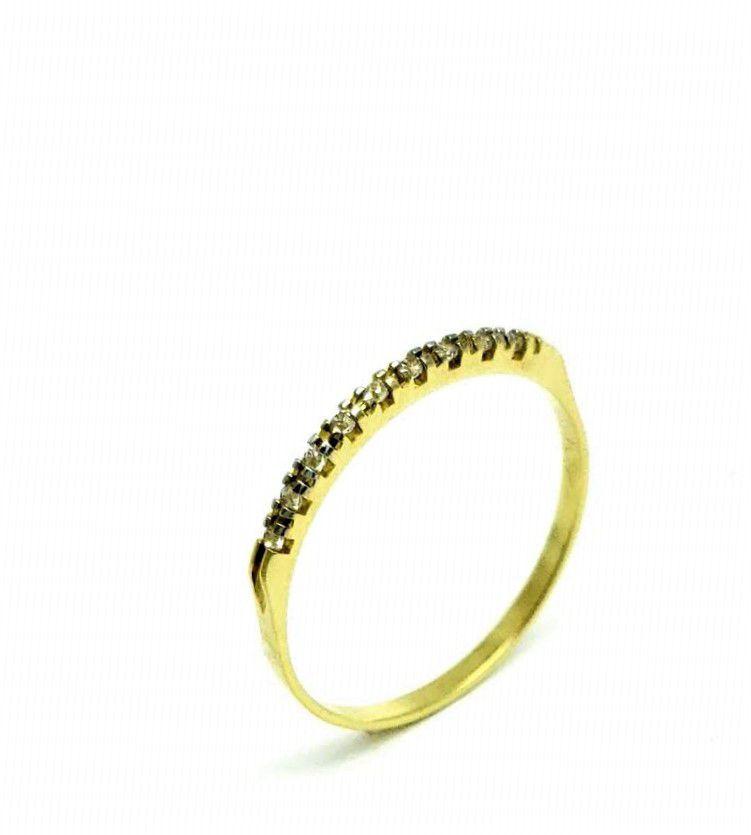 Meia Aliança De Microzirconias Cristal Banho Ouro 18k 2672