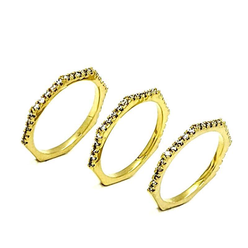 Meia Aliança Cravação de Zirconias Banhada A Ouro Kit 3 Peças 811