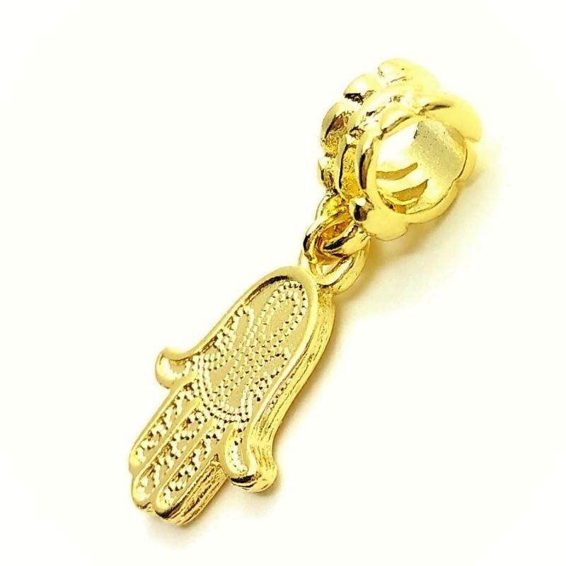 Pingente Berloque Mão De Fátima Hamsa Hamesh Banhado A Ouro 18k 3530