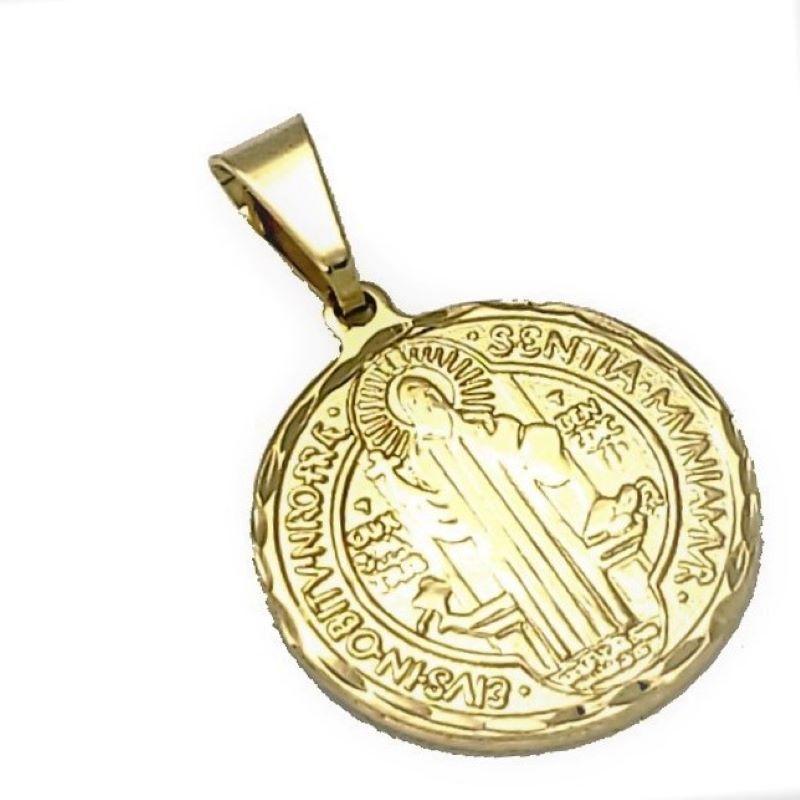 Pingente Medalha São Bento Diamantada 25mm Banho De Ouro 18k 4359