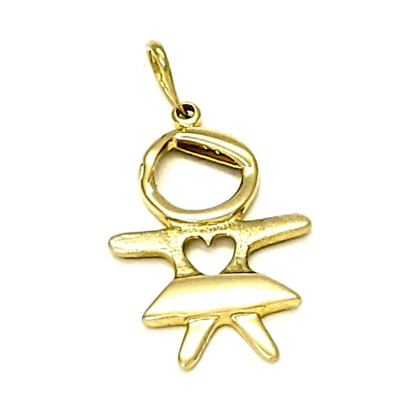 Pingente Menina Filha Neta Desenho Coração Banho De Ouro 18k 1293