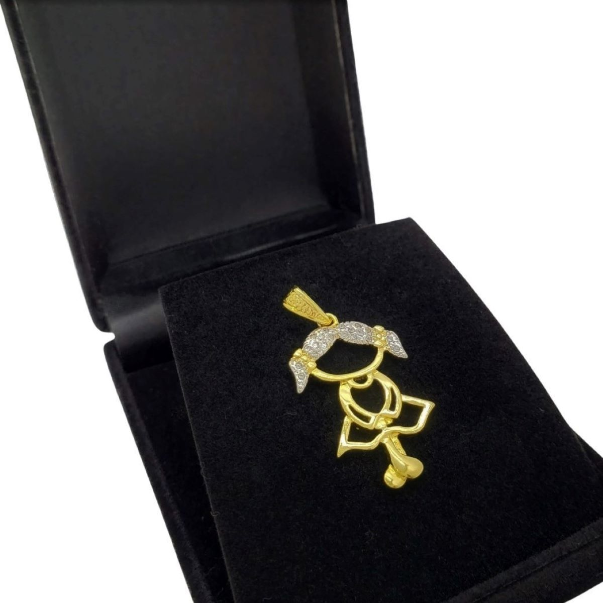 Pingente Menina Cravejado Zirconias Banhado A Ouro 18k 592