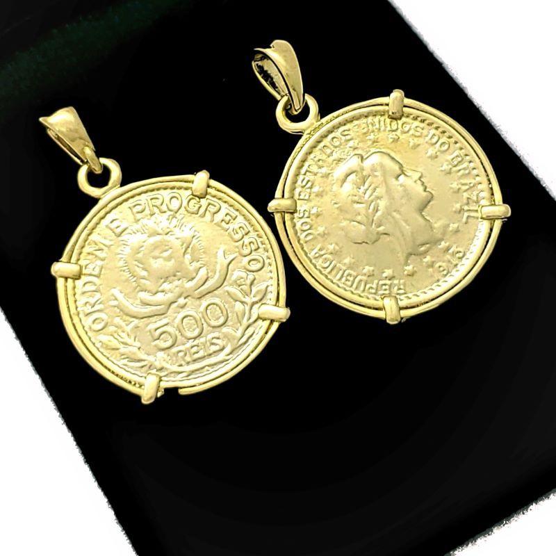 Pingente 500 Réis Semelhante Ao De 1913 Banho De Ouro 18k 1563