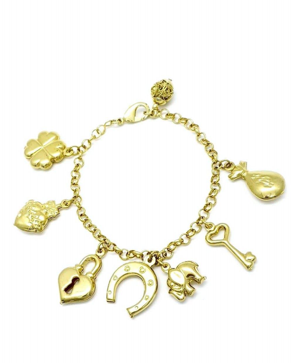 Pulseira 7 Amuletos Da Sorte Patuá 20cm Banhada A Ouro 18k 211