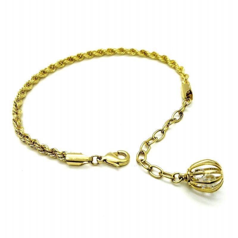 Pulseira Cordão Baiano Com Pingente De Zirconias Banho De Ouro 18k 1314