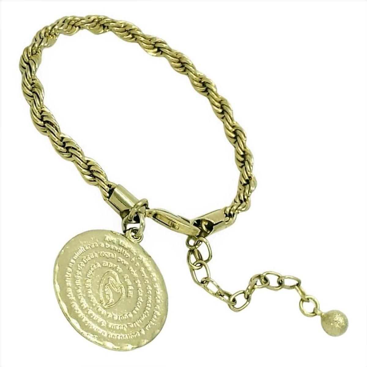 Pulseira Corda Trançada Com Pingente Ave Maria Banho De Ouro 18k 1316B