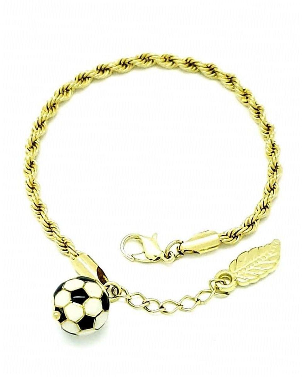 Pulseira Cordão Baiano Com Bola De Futebol Banho De Ouro 18k 440