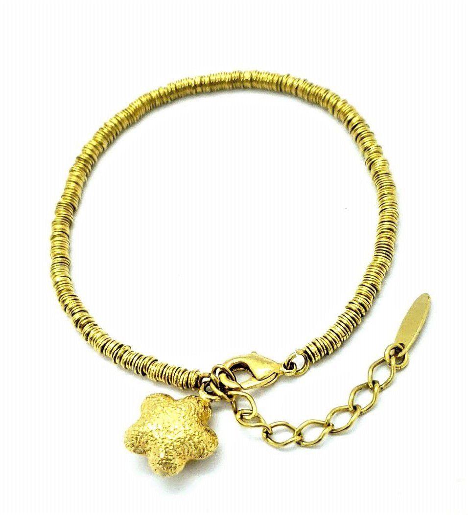 Pulseira Com Pingente Estrela Diamantada Banho De Ouro 18k 439