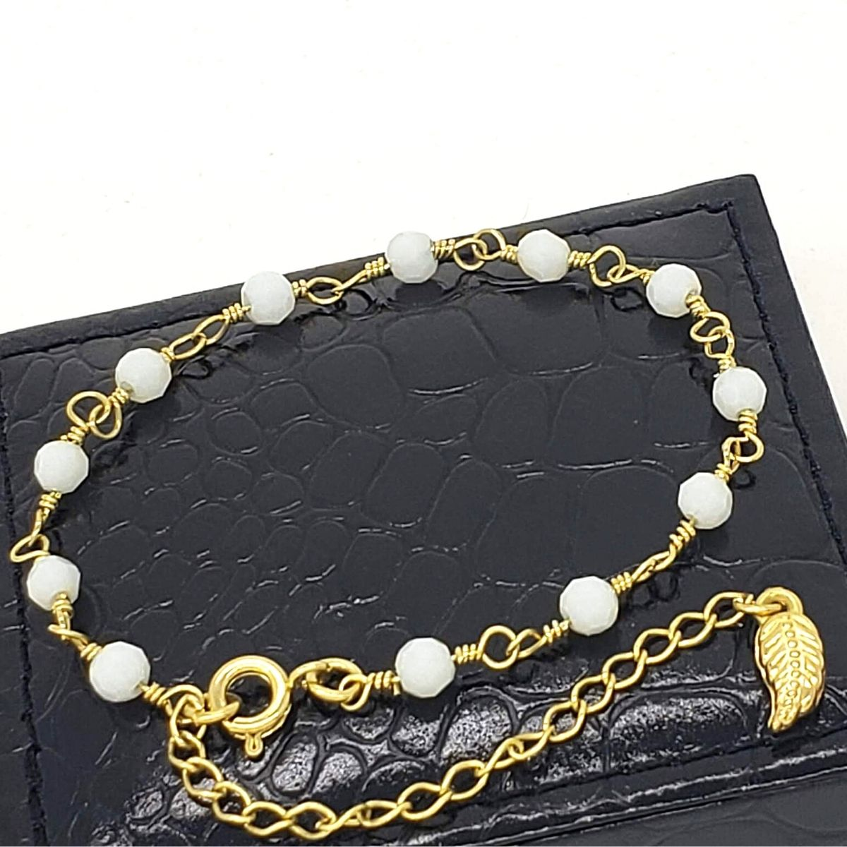 Pulseira Cristal Branco Banho De Ouro 18k 2227