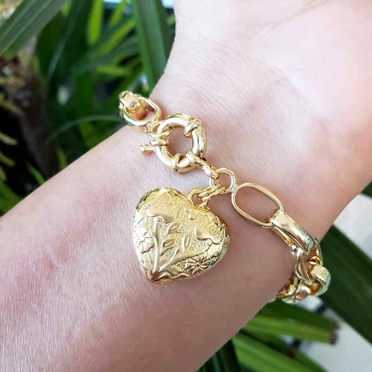 Pulseira Elos Cadeado Com Coração Decorado Banho De Ouro 18k 1795C