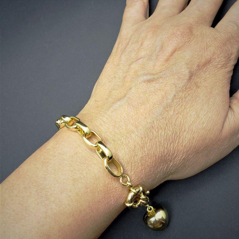 Pulseira Elos Cadeado Com Pingente Coração Banhada A Ouro 18k 1795