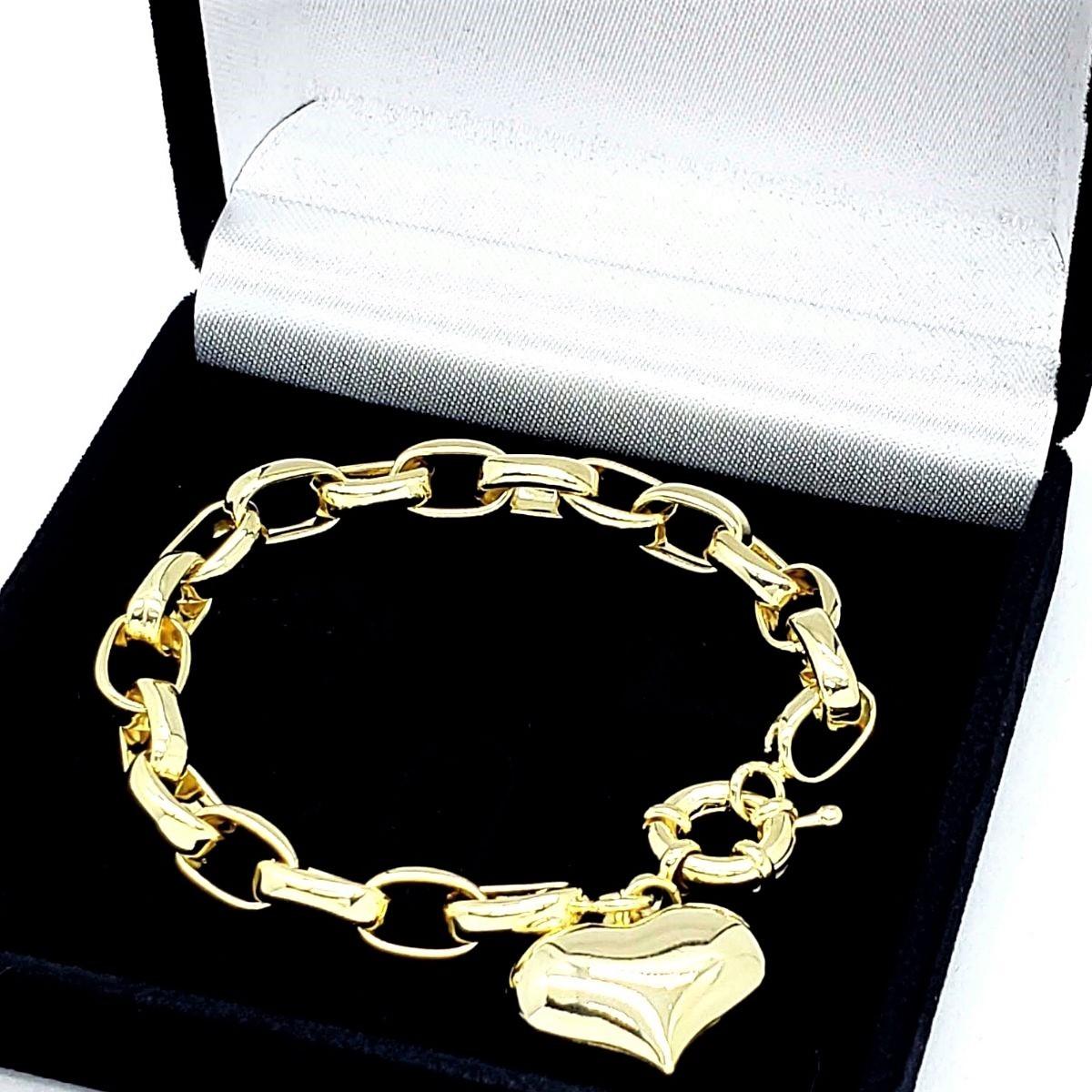 Pulseira Elos Cadeado Pingente Coração Banho De Ouro 18k 1795