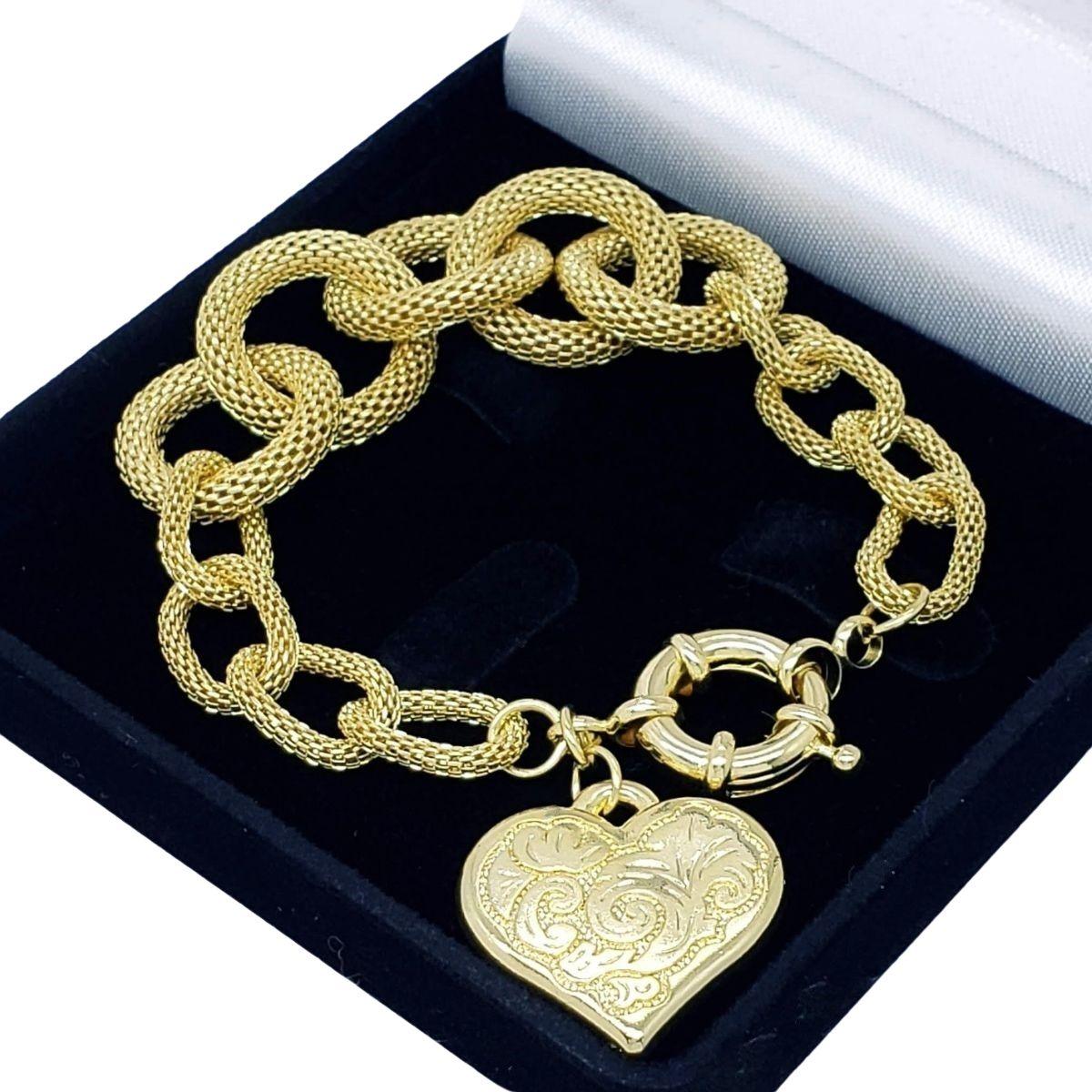 Pulseira Elos Malha Com Coração Decorado Banho de Ouro 1889B
