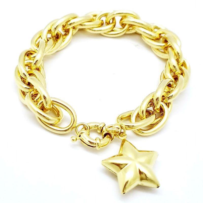 Pulseira Elos Duplos Trançados Com Estrela Banho De Ouro 18k 1800C