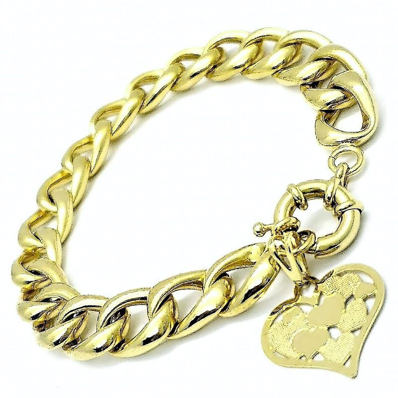 Pulseira Elos Grumet Coração Decorado Banho De Ouro 18k 1796