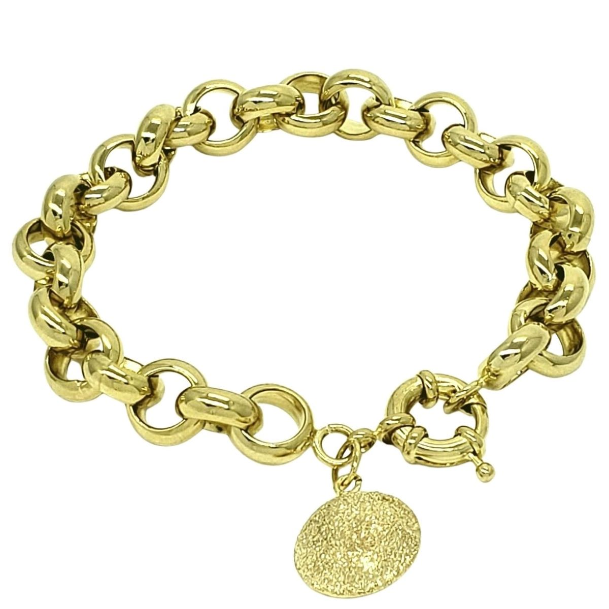 Pulseira Elos Portugueses 11mm Pingente Diamantado Banho De  Ouro 18k 1797C