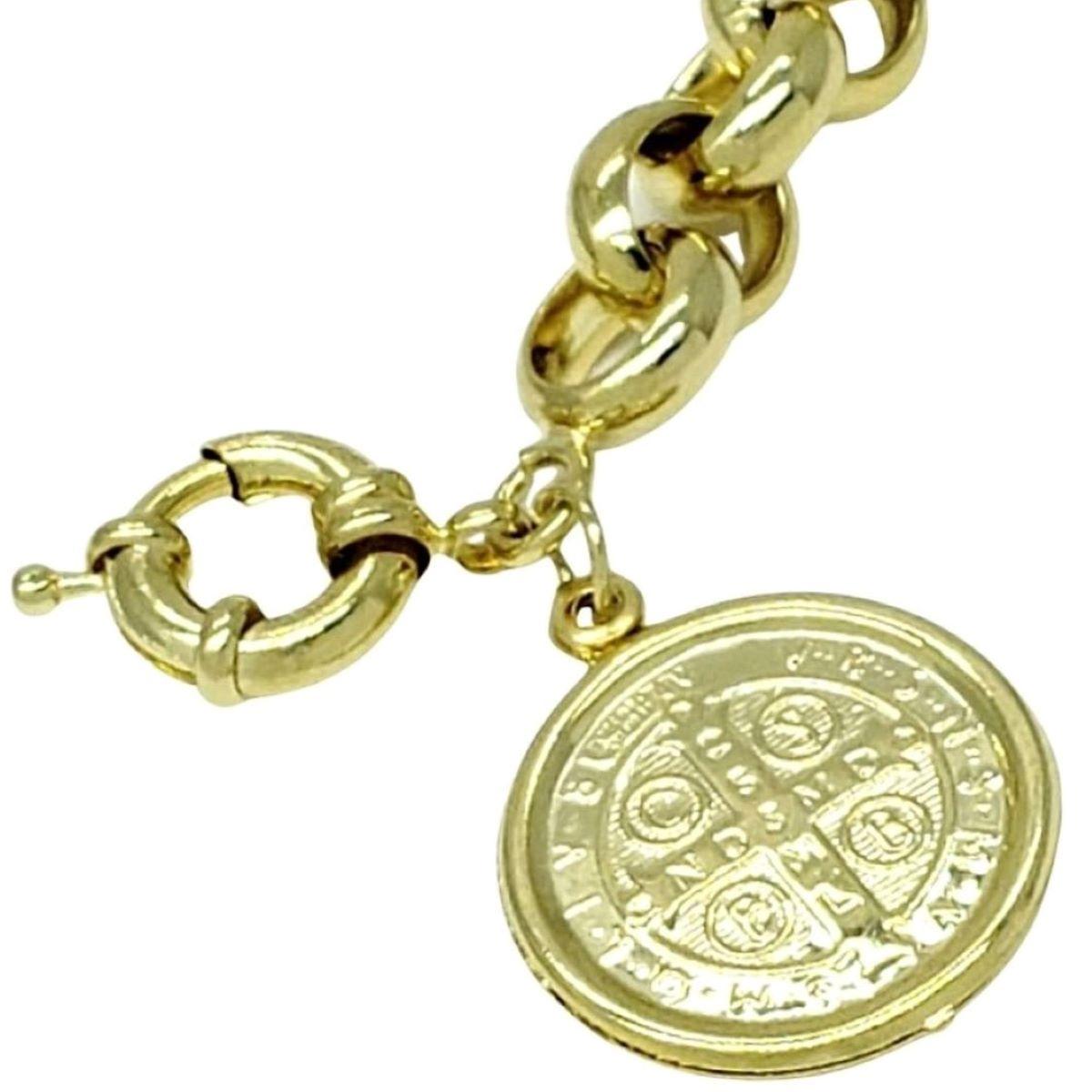 Pulseira Elos Portugueses 11mm Medalha São Bento Banho Ouro 18k 1797E