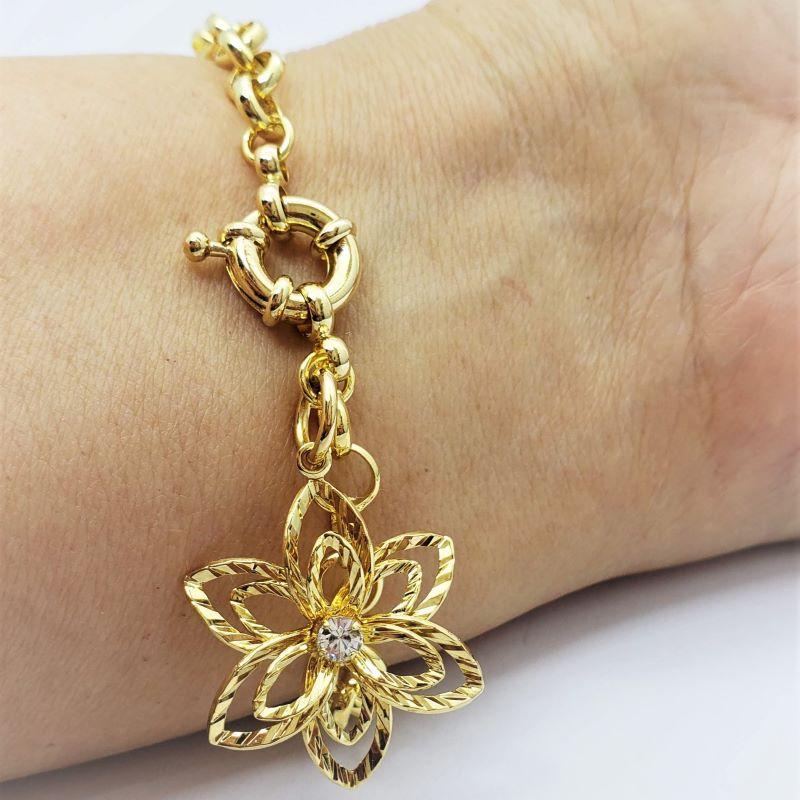 Pulseira Elos Portugueses Flor Diamantada Banho De Ouro 18k 3191C