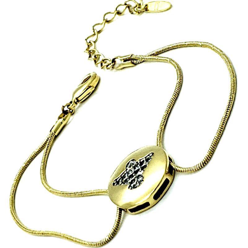 Pulseira Espírito Santo Cravejado Com Zirconias Banho De Ouro 18k 1321