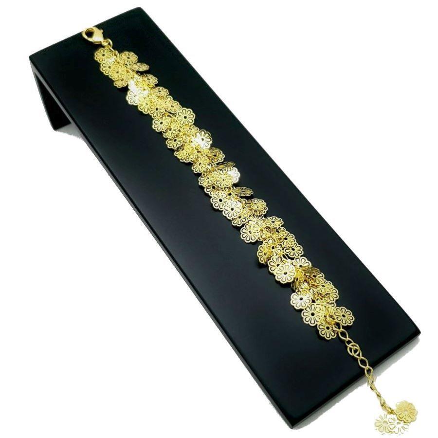 Pulseira Flores Banhada A Ouro 18k 1221