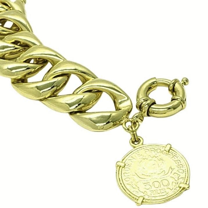 Pulseira Grumet 19cm Com Pingente Moeda 500 Réis Similar À De 1913 Banhada A Ouro 18k 4620 1563