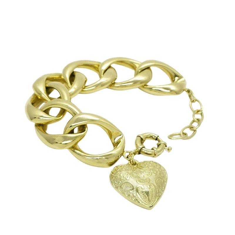 Pulseira Grumet 7 Elos Grandes Com Pingente Coração Banho De Ouro 18k 4621A 4733