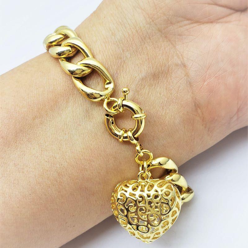 Pulseira Grumet Coração Desenhado Banho De Ouro 18k 1796A