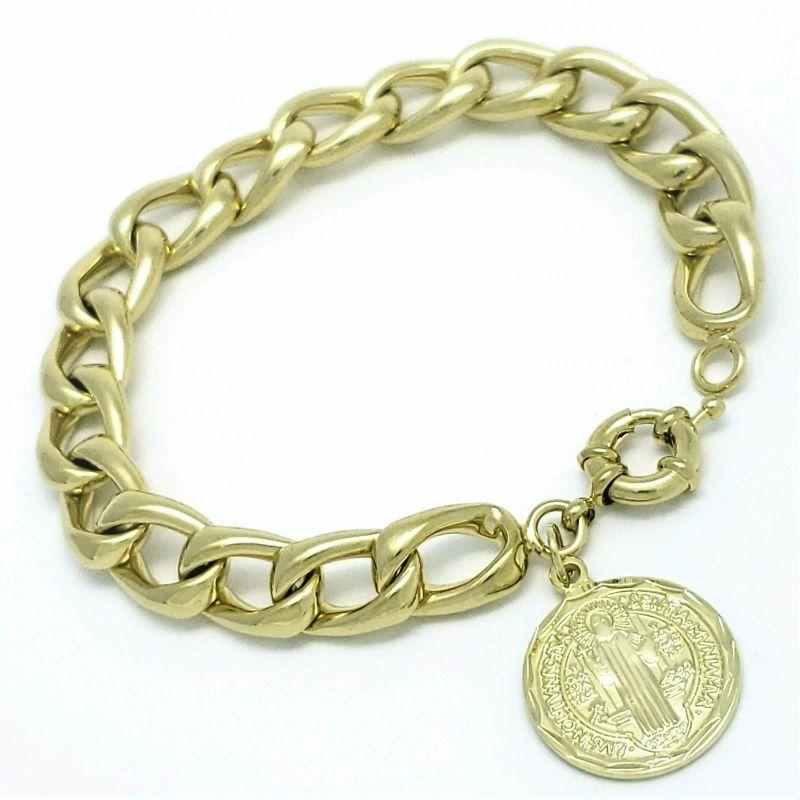 Pulseira Grumet Com Pingente São Bento Banhada A Ouro 18k 1796C