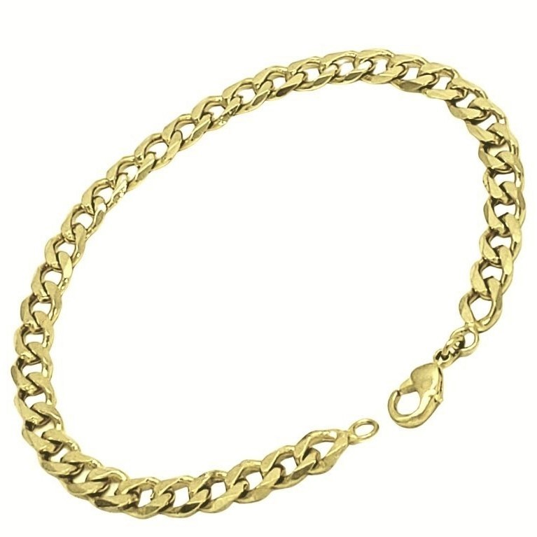 Pulseira Grumet Diamantada 21cm Banho De Ouro 18k 1835