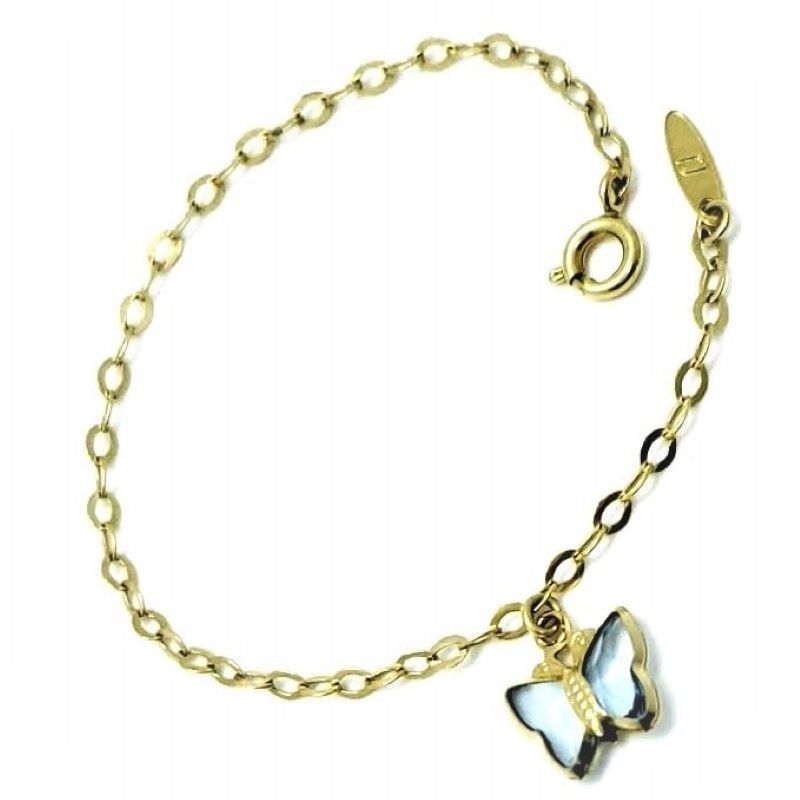 Pulseira Infantil Borboleta Cristal Colorido Banho De Ouro 18k 447