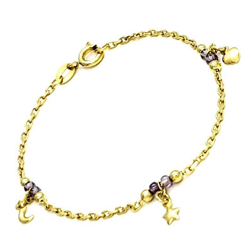 Pulseira Infantil Contas E Berloques Lua Estrela Coração Banho De Ouro 18k 1576