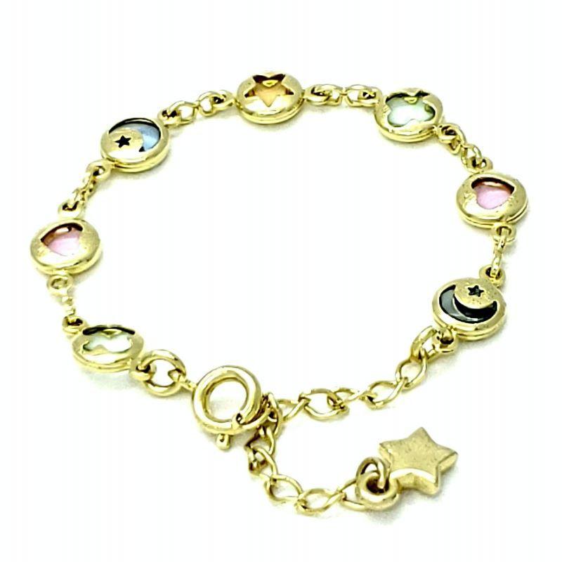 Pulseira Infantil Cristais Coloridos Lua Estrela Trevo Coração Banho De Ouro 18k 1205