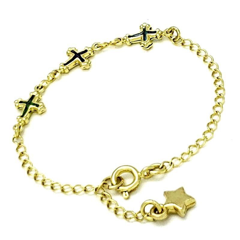 Pulseira Infantil Cruzinhas De Cristal Colorido Banhada A Ouro 18k 1209