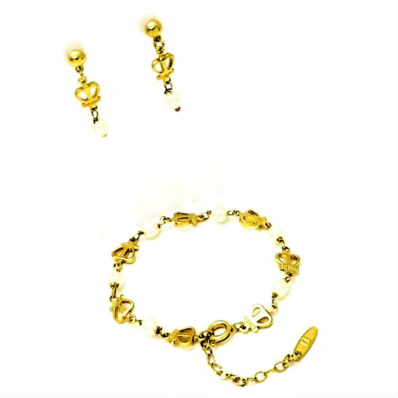 Pulseira Infantil e Brincos Pérola com Coroas Banho De Ouro 18k 1315 1405