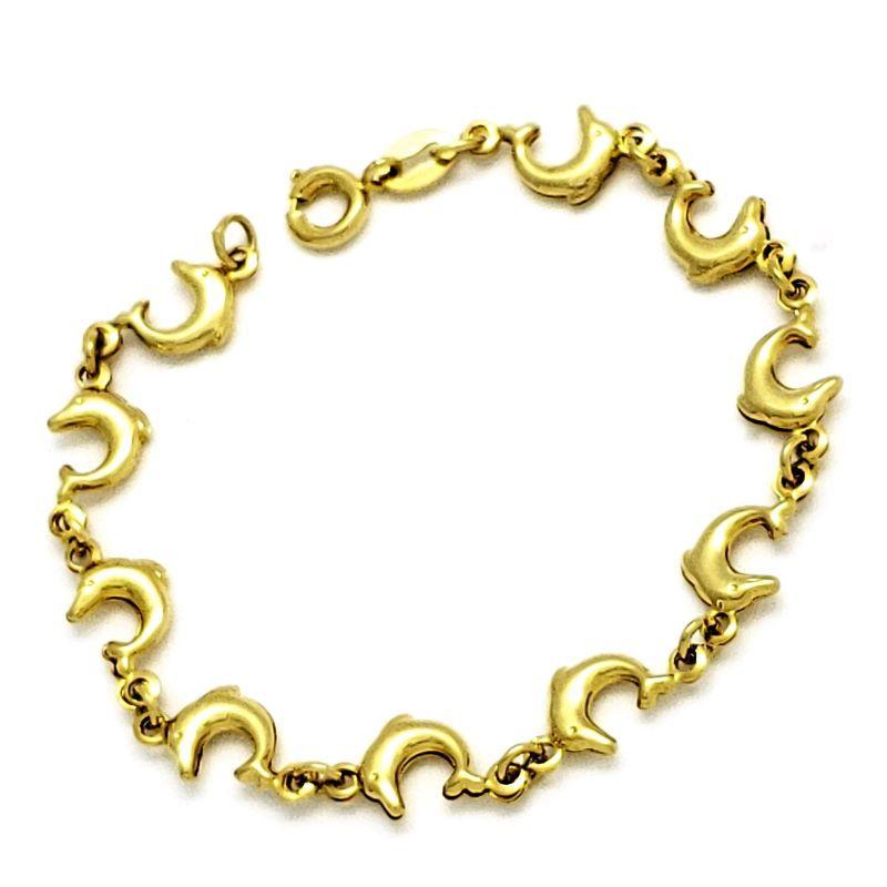 Pulseira Infantil Golfinhos Banho De Ouro 18k 1585