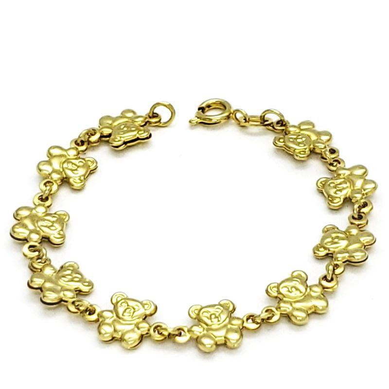 Pulseira Infantil Ursinhos Banho De Ouro 18k 1578