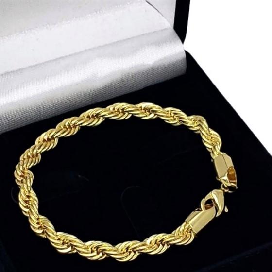 Pulseira Cordão Baiano 6.0 20cm Banho De Ouro 18k 2564