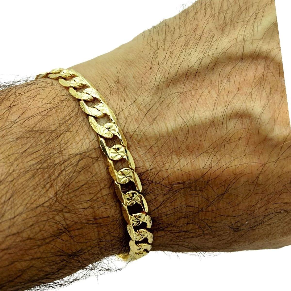 Pulseira Masculina Grumet Diamantada Banho De Ouro 18k 1828