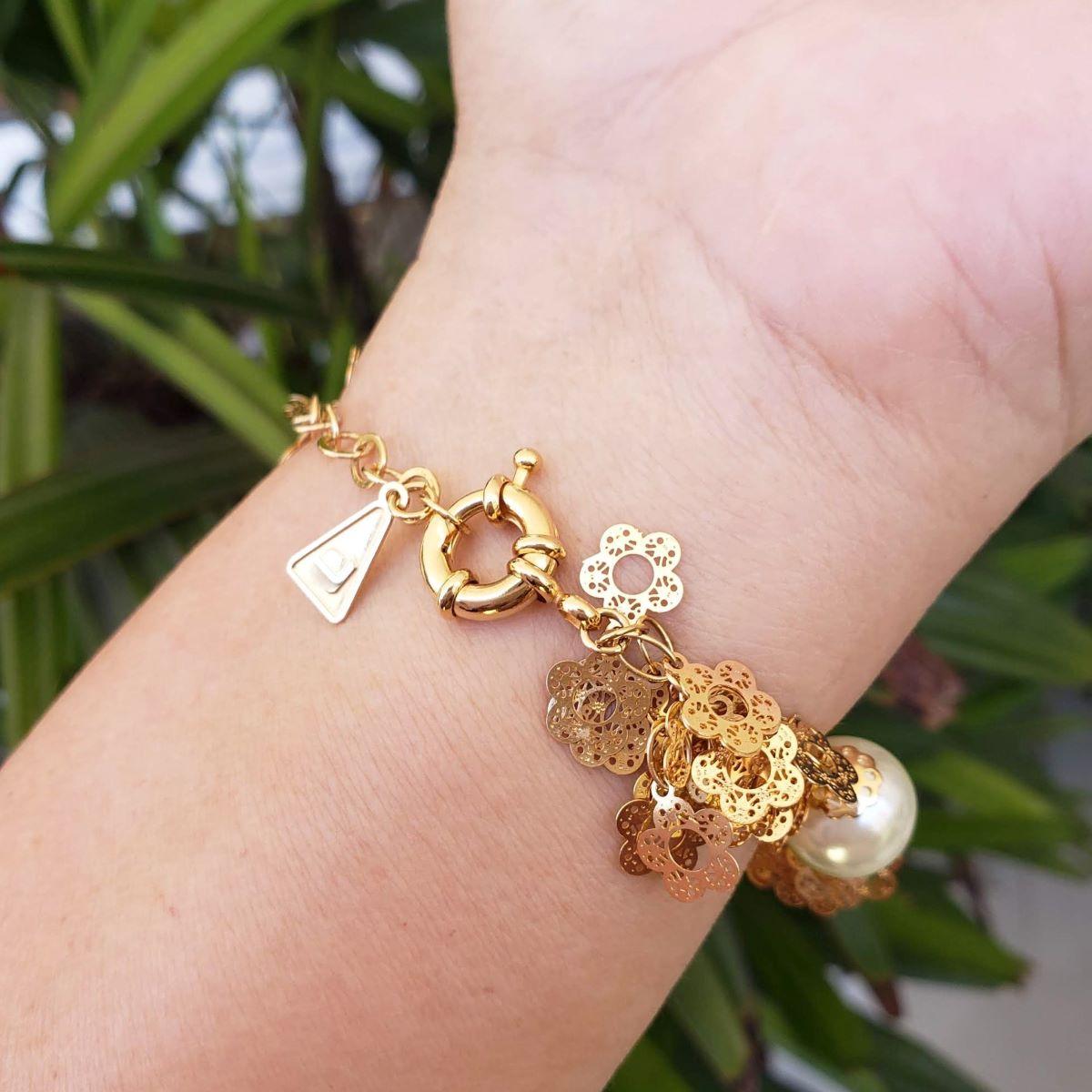 Pulseira Pérolas E Cachos De Flores Banho De Ouro 18k 717