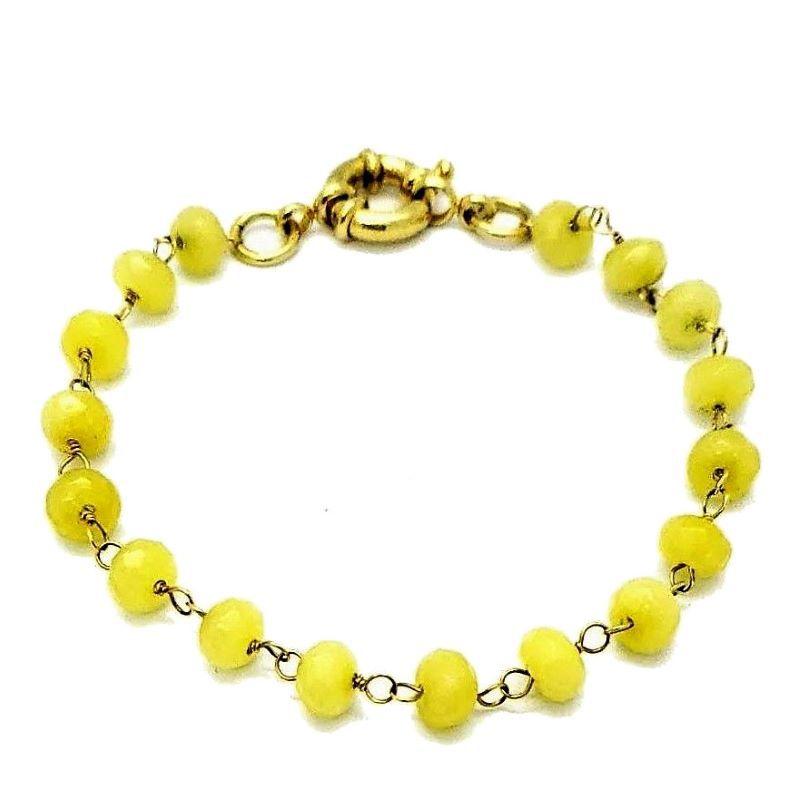 Pulseira Quartzo Amarelo Natural Banhada A Ouro 18k 1268