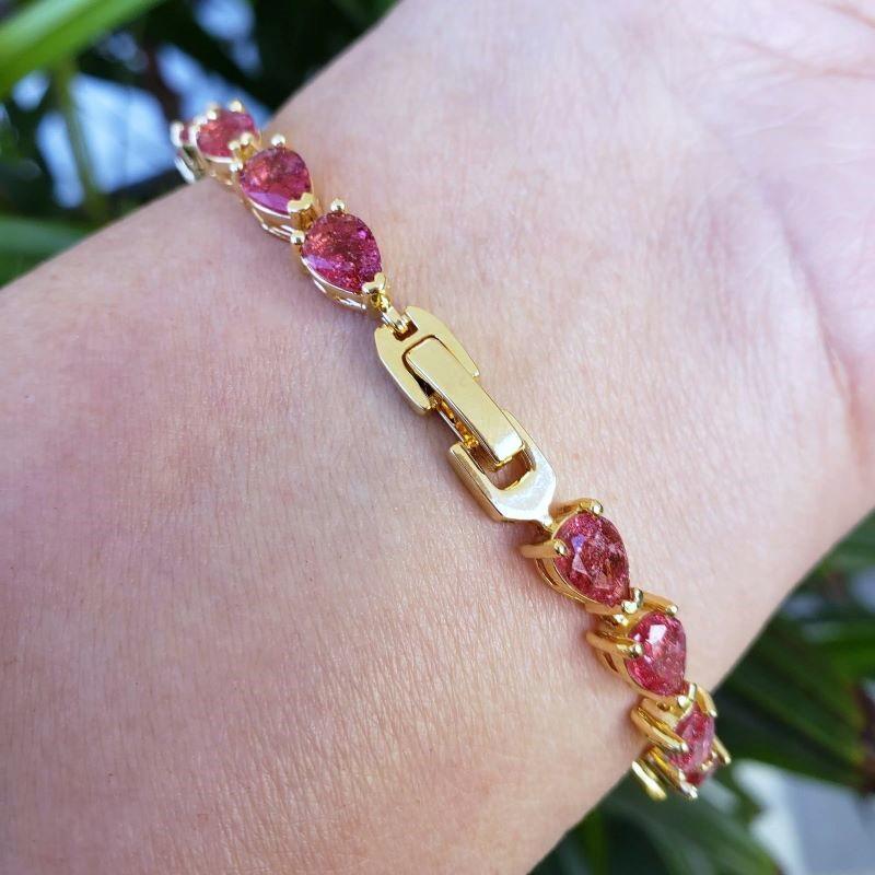 Pulseira Riviera Gotas Zirconias Rubelita 18cm Banho Ouro 18k 4636