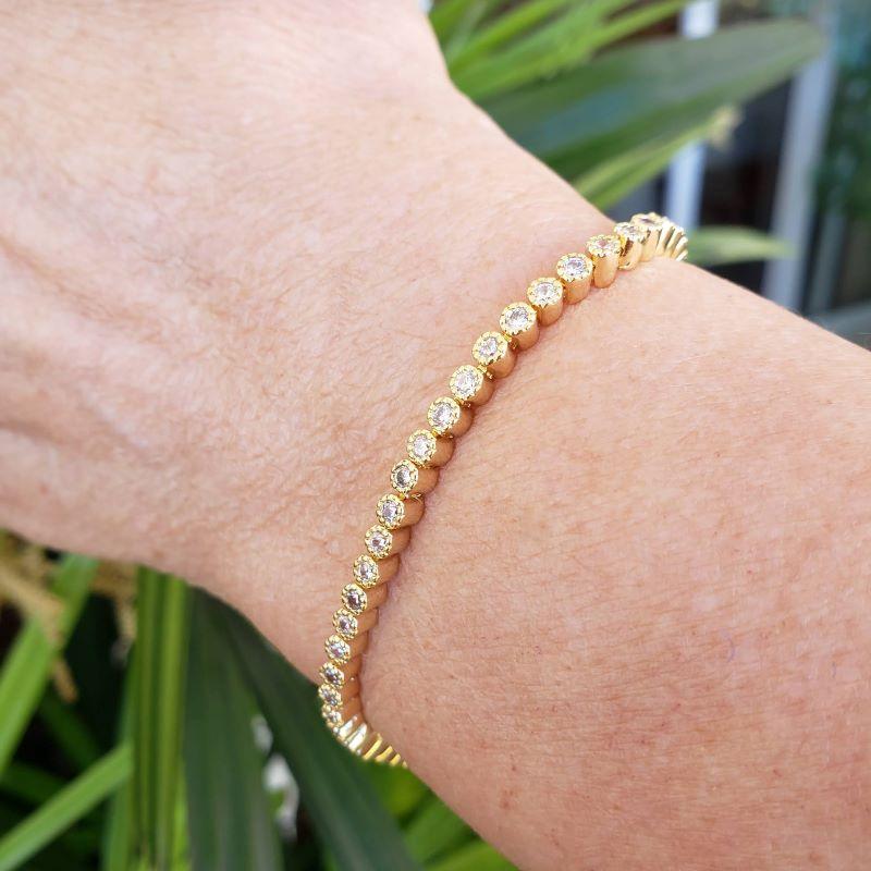 Pulseira Riviera Zirconias Cristal Banhada A Ouro 18k 3745