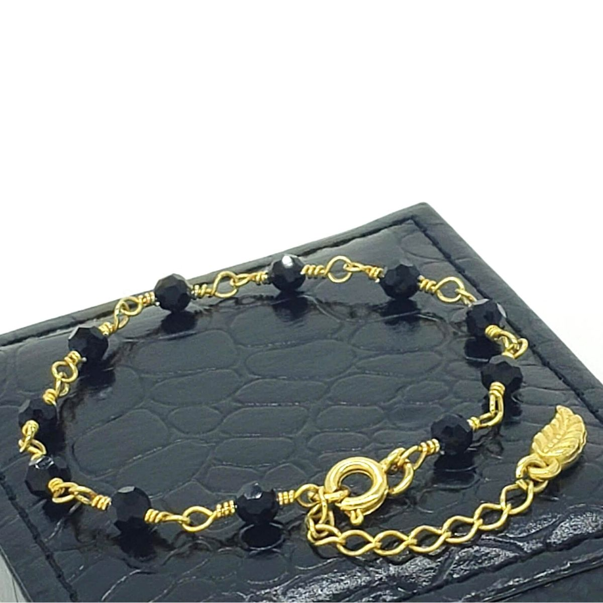 Pulseira Cristal Negro Banho De Ouro 18k 2226